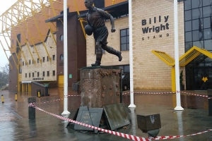 Drink driver crashed into Billy Wright statue. credit to express and star for pic.